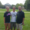 My sister, dad and I in the quad